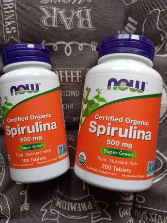 Органическая спирулина Now foods, spirulina, 500 мг, США, 100 и 200