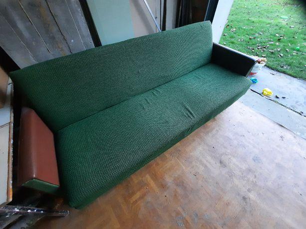 Stara zabytkowa wersalka sofa kanapa z prl 70 brązowa zielona