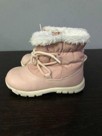 Śniegowce buty zimowe różowe z futerkiem H&M r.22