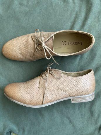 Бежевые кожаные туфли (оксфорды, дерби) 41р. 27,5см.