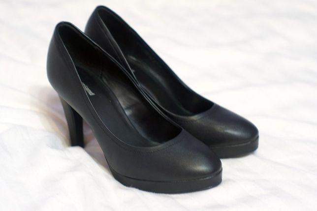 buty, szpilki, czółenka, obcas 10 cm, rozm. 38, czarne, wysokie