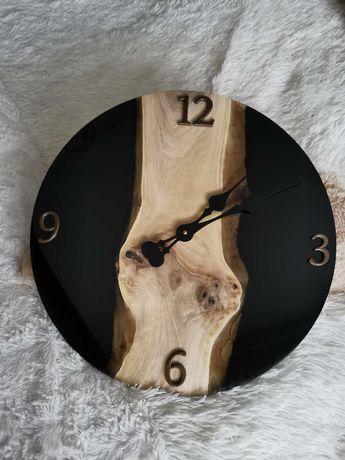 Zegar ścienny drewno żywica 47 cm