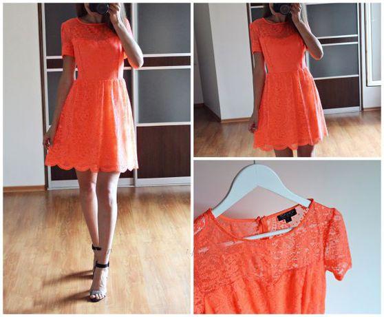 Яркое гипюровое платье р. 14 (М)