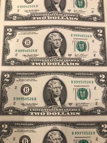 доллары США неразрезанный лист.Купюры по 2 $.