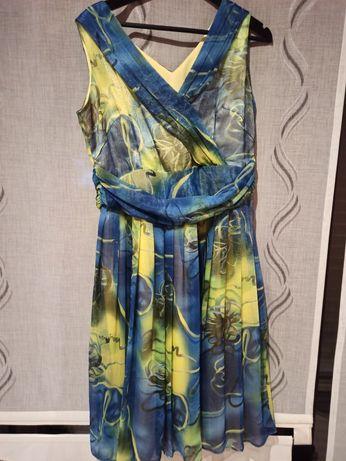 Sukienka letnia żółto-niebieska