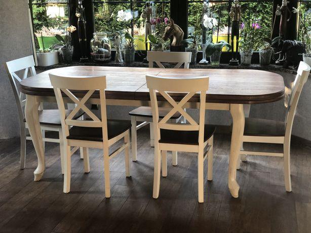Stół dębowy rozkladany+6 krzeseł