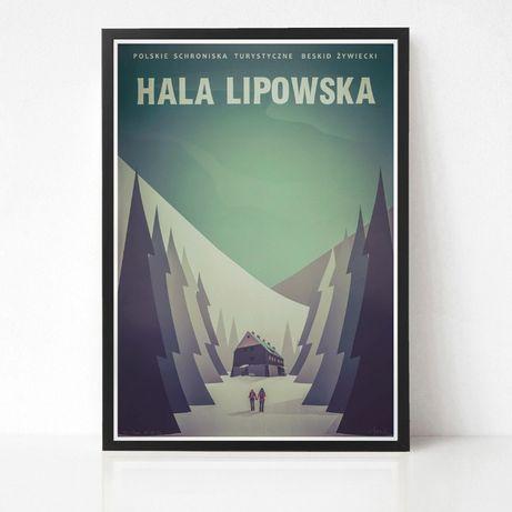 Plakat Hala Lipowska grafika góry Beskidy