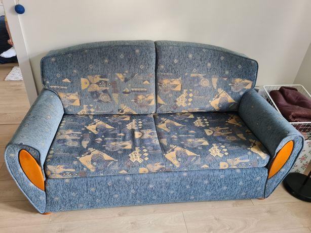 Kanapa sofa rozkładana niebieska pojemnik na pościel
