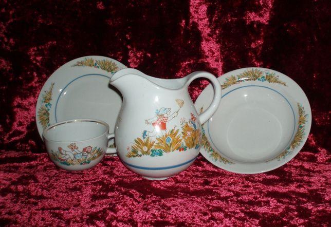 Винтаж фарфор детская посуда тарелка чашка кувшин Барановка приборы