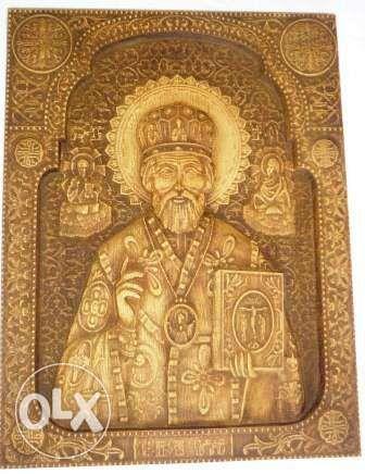Икона дерево, Резная Икона Святой Николай Чудотворец