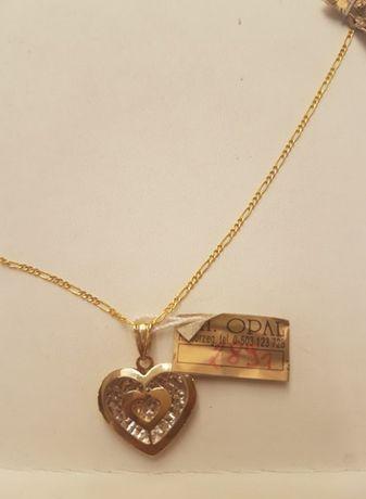 Piękny złoty łańcuszek figaro + zawieszka serce 50cm,pr.585. Hit !!