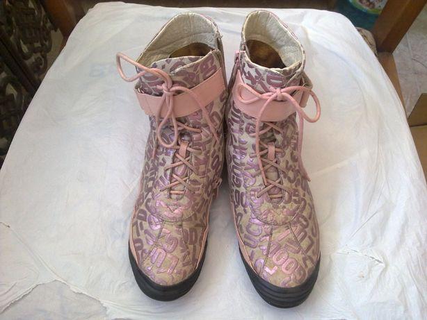Ботинки кроссовки женские р 37 (24 см) натуральная двойная кожа
