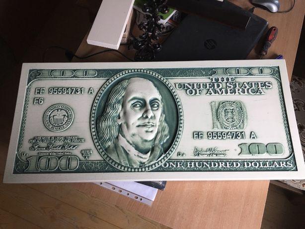 Картина Панно банкнота 100 доларов з дерева