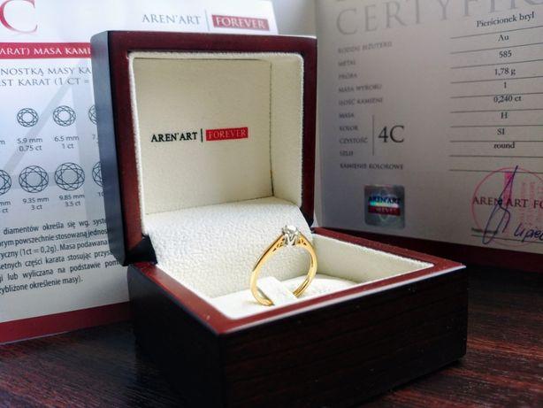 Pierscionek z brylantem , brylant 0.24ct , certyfikat! Diament złoto