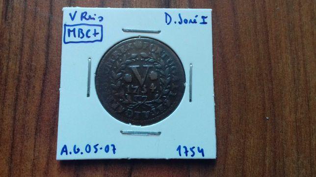 Moeda V Reis 1754 D. José I - MBC +