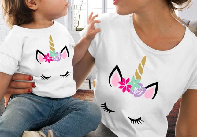 Zestaw koszulek t-shirt komplet mama i córka jednorożec unicorn