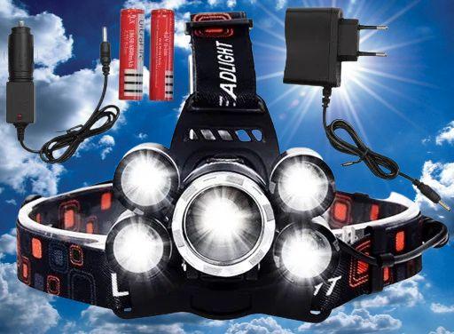 Latarka Lampka Czołowa 5 LED CREE XM-L T6 2 AKU