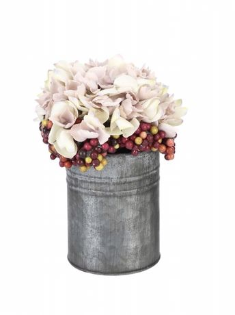 OKAZJA! Nowy bukiet hortensja dekoracja flower box metalowy wazon