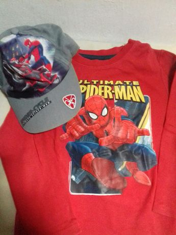 Conjunto boné+camisola Spider-man 5/6 anos