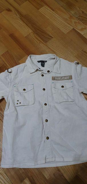 HM biała koszula len, bawełna