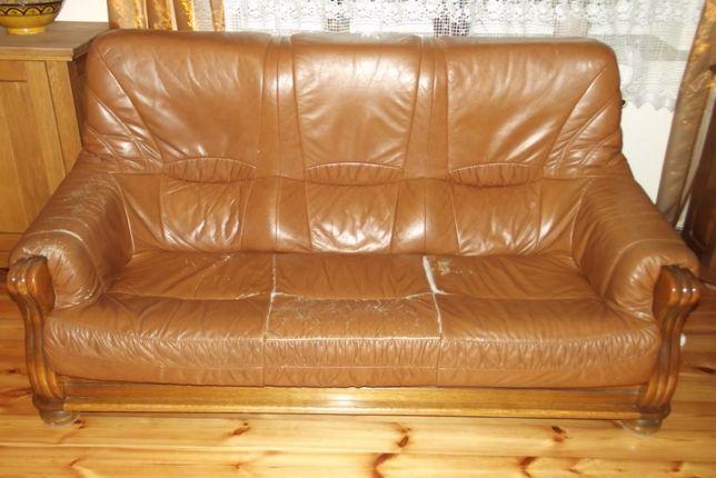 Sofa trzyosobowa i 2 fotele skórzane