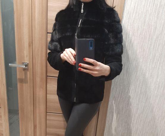 Новая замшевая куртка с норкой