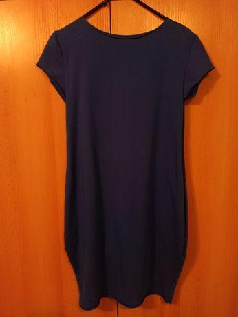 Sukienka elegancka chabrowa/kobaltowa/ciemnoniebieska