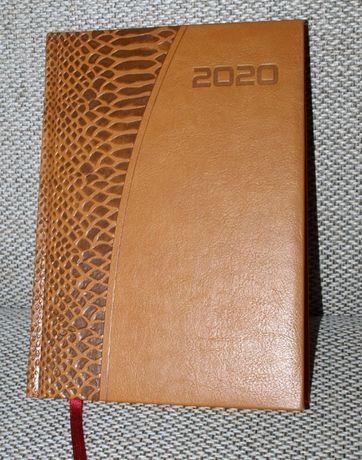 Kalendarz 2020 jako notatnik, A5, brązowy z pasem deko - ostatni