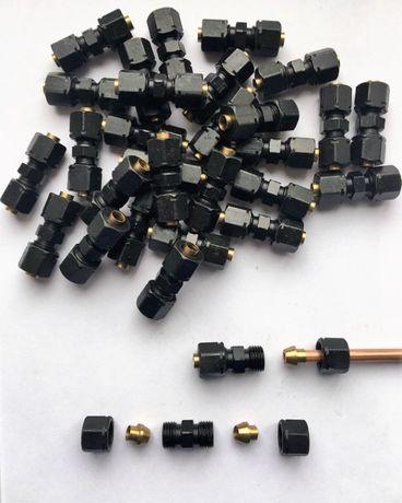 соединитель без вальцовки тормозных и др труб 4,75, 6, 8, 10, 12, 15мм