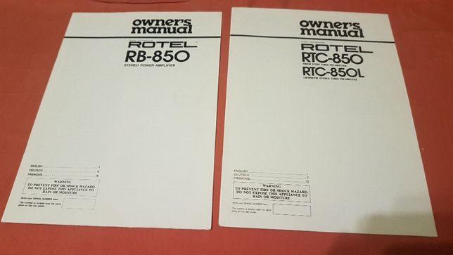 Instrukcja Rotel RB-850 i RTC850 po angielsku, oryginał