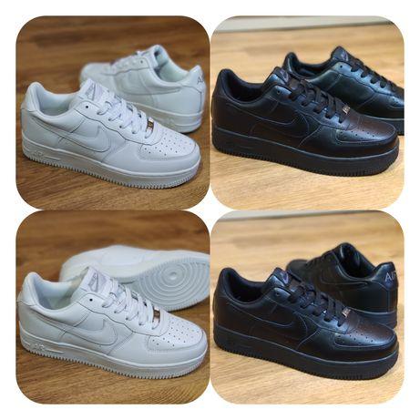 Мужские кожаные кроссовки Nike Air Force (белые, черные) 41-46-й р.