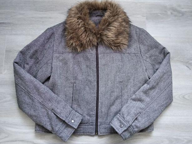 Szara krótsza kurtka w jodełkę z futerkiem Blind Date XL - z wełną