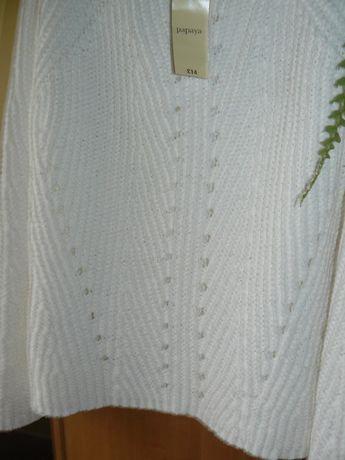 Swetry Biały Papaya Nowy M L Pasy F&F Cudne Hit
