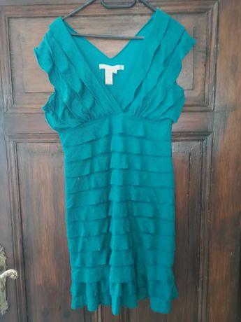 Max Studio śliczna turkusowa sukienka r. 40-42