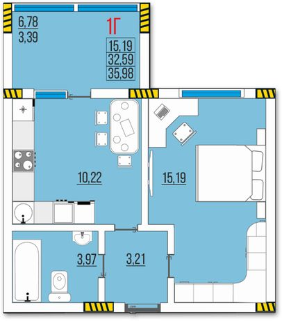 Ак. Глушко, Одесса, продам 1к квартиру 4 эт. 35,98 м. от застройщика.