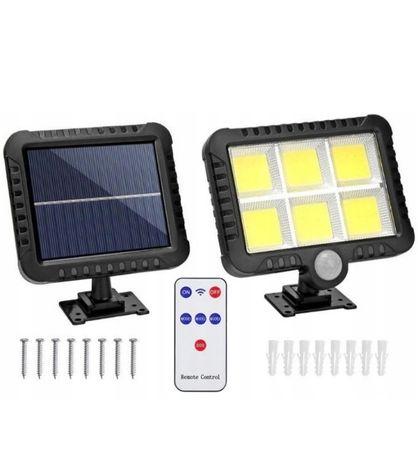 Lampa Solarna Z Czujnikiem RUCHU ZMIERZCHU 120 LED + PILOT