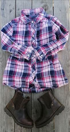 Комплект кофточка рубашка + ботинки Timberland на 2 - 3 года