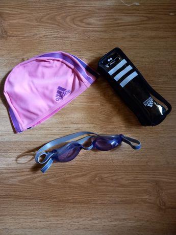 Комплект девичий Adidas для плавания: шапочка, очки, чехол