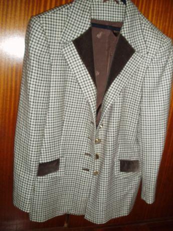 Casaco 3 quartos de tecido de lã pied-de-poule castanho, nº 44