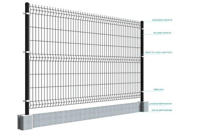 Panele ogrodzeniowe przetłaczane 3D 153x250cm FI 4mm ANTRACYT