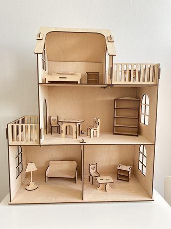 Деревянный кукольный домик с мебелью, ляльковий будинок, игровой домик