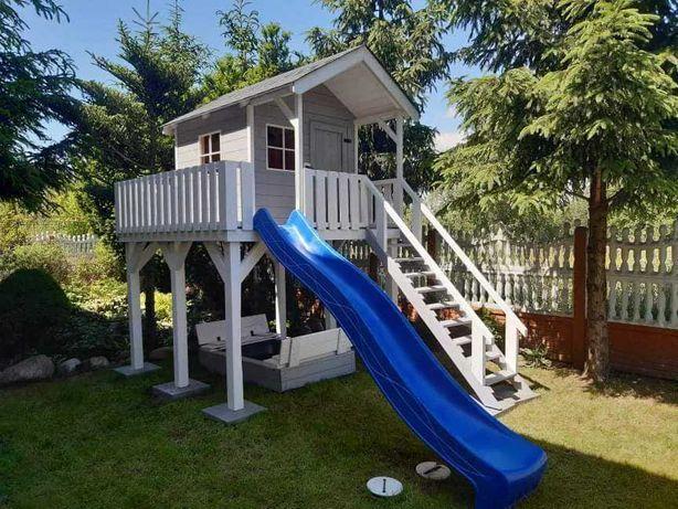 Domek dla dzieci, plac zabaw, huśtawka, zjeżdżalnia