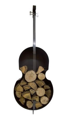 Pojemnik na drewno ręcznie wykonany replika kontrabasu