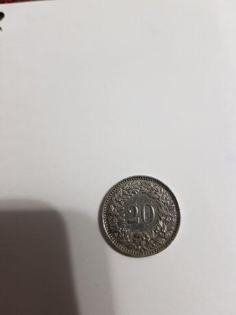 Монета 20 раппенов Швейцария 1962 года
