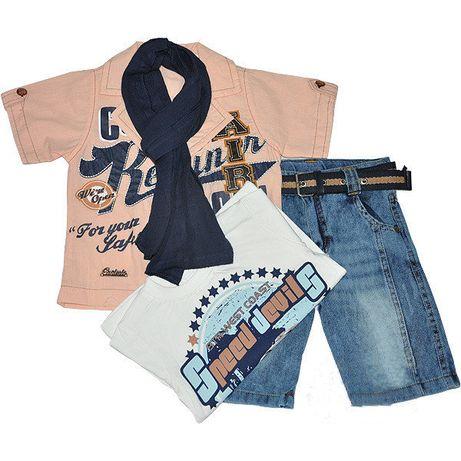 Летний костюм-тройка для мальчика пиджак футболка бриджи от 2 до 5 лет