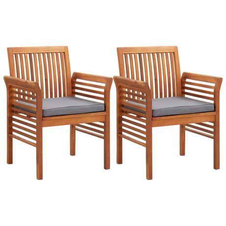 vidaXL Cadeiras de jantar jardim c/ almofadões 2 pcs madeira acácia 45970