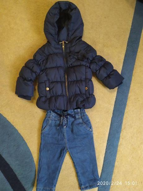 Бомбезная куртка и джинсы zara 6-9 месяцев