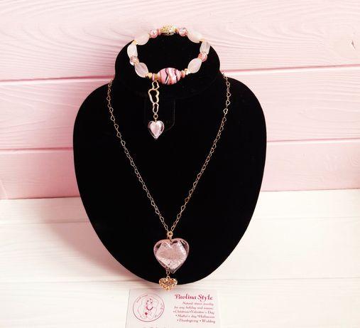 Женский набор позолоченной бижутерии сердце, браслет розовый кварц