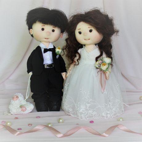 Текстильная свадебная пара интерьерная кукла