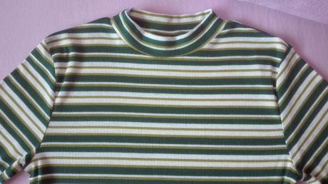 bluzka w paski zielono-biała , s-m, firmy H&M, jak nowa